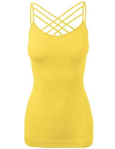 Women's Lattice Front Seamless Cami Bra Strap Tops Triple Criss-Cross Yellow SM