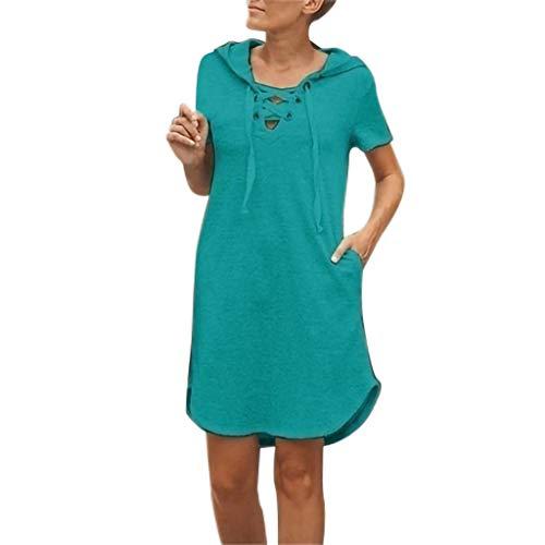 (Tantisy ♣↭♣ Women's Fashion Hoodie Dresses V-Neck Criss Cross Drawstring Casual Dress Summer Short Sleeve A-Line Skirt Blue)