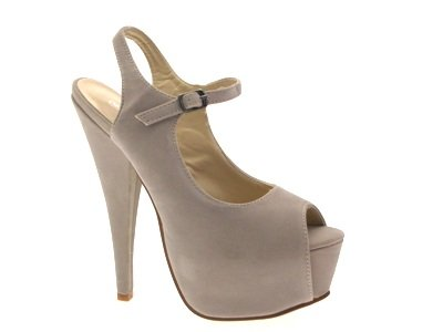 STRAPPY 3 LADIES 8 SUEDE Beige BACK PEEPTOE SLING SHOES UK WOMENS STILETTO FAUX MARY PLATFORM JANE Oxwpt