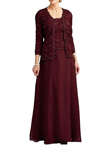 Lace Mother of The Bride Dresses with Jacket Beaded Long Chiffon Evening Gowns Burgundy US18W