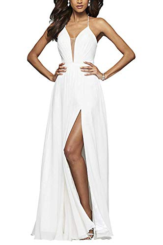 YMSHA Women's Halter Spaghetti Straps Back V Neck Prom Celebrity Dresses with Slit Long Chiffons Evening Party Gowns White 1TWO