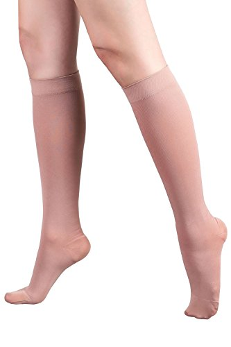 +MD Graduated Compression Socks 30-40 mmHg Extra Firm Pressure Knee High Medical Support Stockings NudeM/L