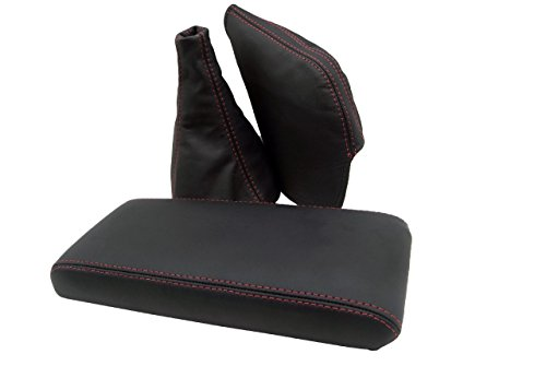 Autoguru Toyota Supra MK3 86-92 Console Armrest Cover, Manual Shift Boot & E-Brake Boot Real Leather Black, Red Stitch