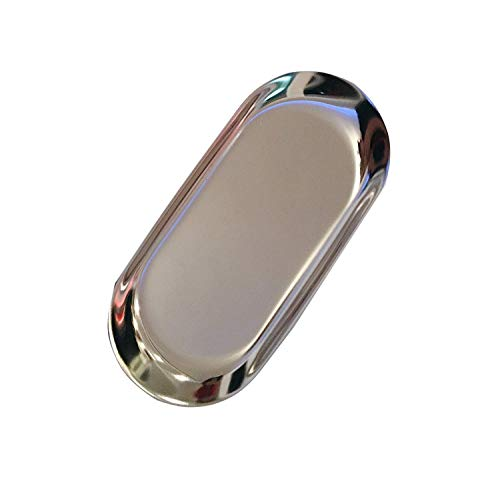 NEWBEER Mirror Candle Plates Storage Tray Stainless Butter Dish Dessert Tray Silver Key Dish Silver Trinket Dish for Jewelry Afternoon Tea 7x3inch 4oz