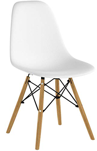 VECELO Mid Century Modern Style Dining Chair Side Chairs with Natural Wood Legs (Set of 4),Easy Assemble for Kitchen Dining Room,Living Room,Bedroom(White) by VECELO