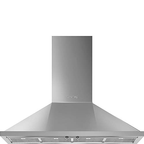 Smeg Portofino Series 48-Inch Pro Style Wall Mount Chimney Ducted 600 CFM Hood with Recirculating Option & Led Lights (Stainless Steel)