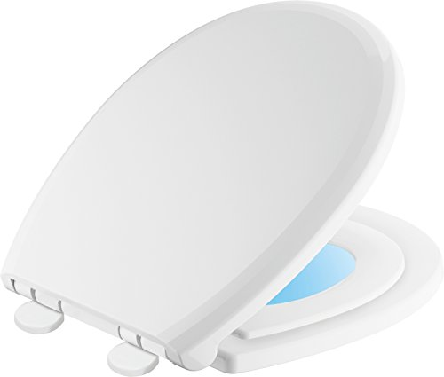 (Delta Faucet 823902-N-WH Sanborne Round Potty Training Nightlight Toilet Seat with Slow Close and Quick-Release, White)