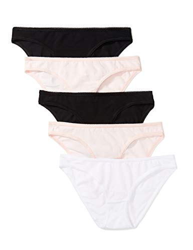 Iris & Lilly Women's Cotton Bikini, Pack of 5, Black/Soft Pink/White, L (US 10)