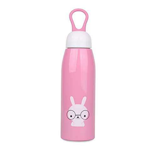 Vacuum Insulated Stainless Steel Water Bottle for Kids | 17oz/500ml | Leakproof, Portable | Double-Walled | BPA Free Metal Sports Bottle | Boys, Gilrs (Pink)