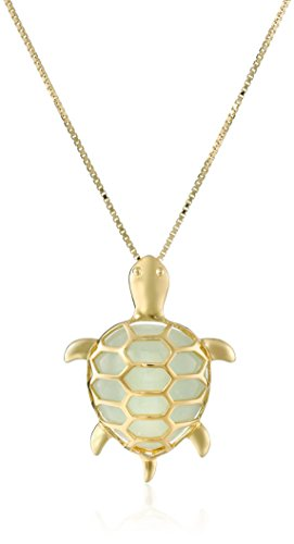 18k Yellow Gold Over Sterling Silver Green Jade Turtle Pendant Necklace, 18