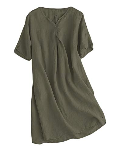 - Mordenmiss Women's Linen Tunic Dresses V-Neck Baggy Midi Dress Hi-Low Tops (Khaki Green,L)