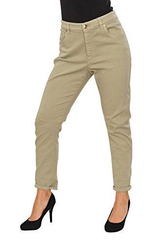 Brunello Cucinelli Pantaloni Donna 44 IT verde cotone Boyfriend-Low Slung Taglio stretto