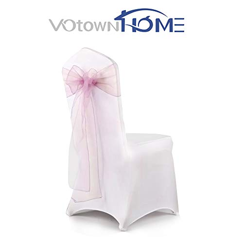 (VOTOWN HOME Pink Organza Chair Cover Sashes/Bows Wedding Party Chair Tie Back Sashes Pink Sashes for Chair Covers 50Pcs)