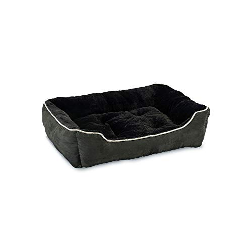 Sleep Zone Faux Suede With Piping Trim Slumber Bolster, Cuddler Dog Bed - Fabric Bottom - 28X23 Inches / Black / Attractive, Durable, Comfortable, Washable. By Ethical Pets