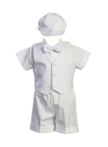 Swea Pea & Lilli Poly Cotton Christening Short Set with Basket Weave Vest and Hat,White,18-24 Month (23-27 lbs) from Swea Pea & Lilli