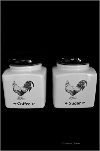 Set 2 Ceramic Sealing Lid Country Rooster Kitchen Sugar & Coffee Jars Canisters ()