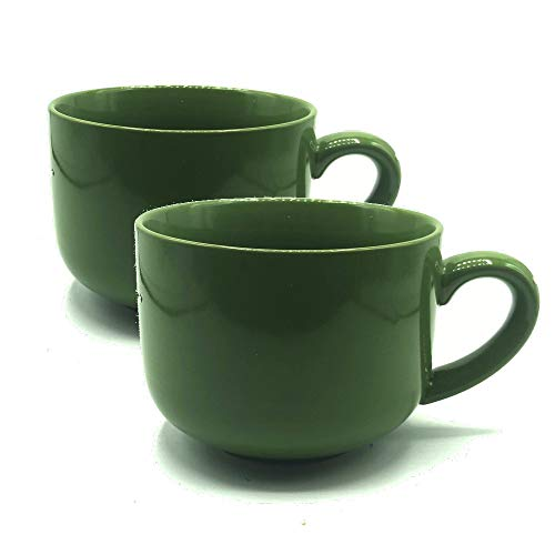 24 ounce Extra Large Latte Coffee Mug Cup or Soup Bowl with Handle - Green Olive (Set of 2)