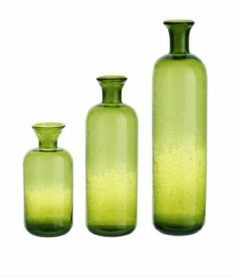 Set of 3 Eco Country Decorative Green Tranlucent Glass Table Top Bottles 16.5''