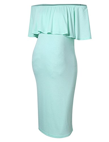 Maternity Dress Women's Off Shoulder Ruffle Knee Length Maternity Dress M Mint by MissQee