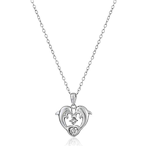 Dolphin Heart with Diamonds Pendant Necklace in Sterling Silver