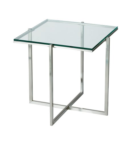 Adesso Glacier End Table, Steel - Adesso Glass End Table