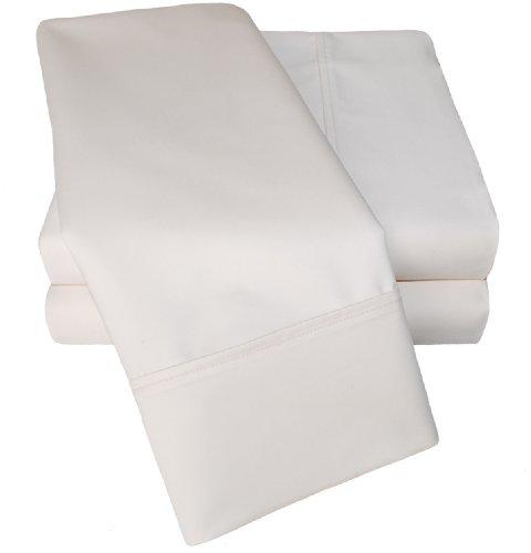 Cotton Blend 1000 Thread Count, Deep Pocket, Soft, Wrinkle Resistant 5-Piece Split King Bed Sheet Set, Solid, Ivory