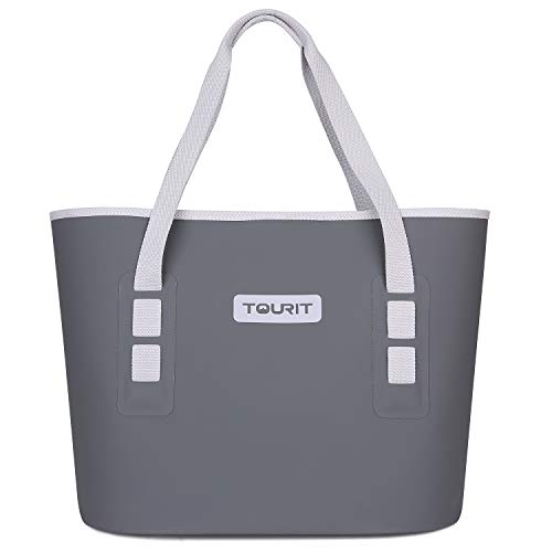 TOURIT Carryall Soft Cooler Leak Proof Soft Sided Cooler Durable Waterproof Beach Tote Bag with Free Cooler for Fishing Camping Picnics Road Beach Trip Grey