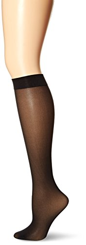 No Nonsense Women's Opaque Knee High Value Pack Sockshosiery, -black, One Size, 6 pair pack