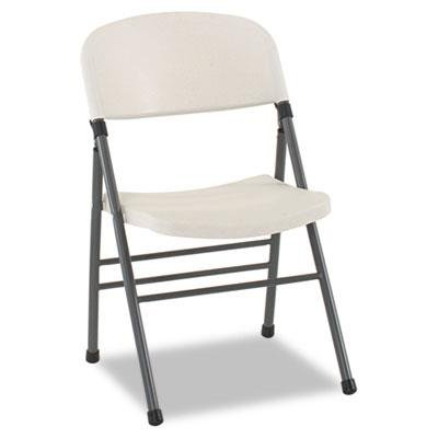 BridgeportTM - Endura Resin Molded Folding Chair, Pewter Frame/White Speckle, 4/Carton - Sold As 1 Carton - Designed for indoor and outdoor use.