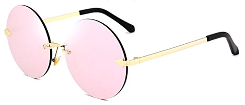 GAMT Oversized Arrow Rimless Round Sunglasses for Men and Women Frameless Eyeglasses (Transparent Pink Lens, 60) (Free Sunglasses So Rimless Metal)