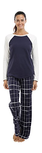jijamas Incredibly Soft Pima Cotton Women's Pajamas Set The Weekender in Plaid Navy Blue and Off-White ()