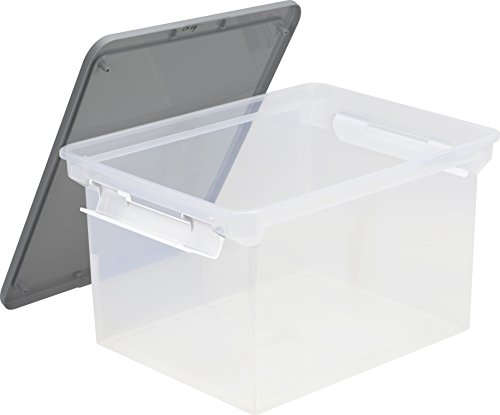 (Storex Storage File Tote with Locking Handles, 18.5 x 14.25 x 10.88 Inches, Clear/Silver (61530U01C))