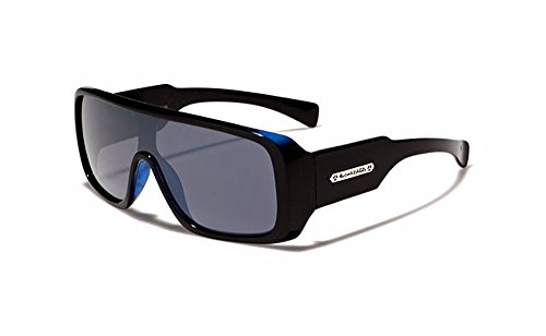 Biohazard Large Shield Mens Futuristic Goggle Style Designer Celebrity Sunglasses, Blue/Black, Smoke