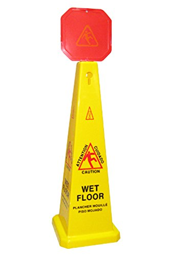 Boss Cleaning Equipment B010011 Yellow Caution Cone 46'' with Red Warning Sign 10''