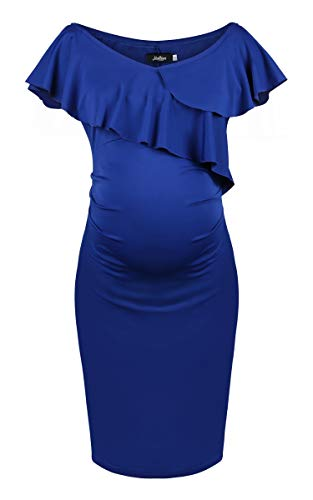 Dance Fairy Molliya Women's Maternity Bodycon Dress Off Shoulder Ruffles Ruched Sides Knee Length Casual -