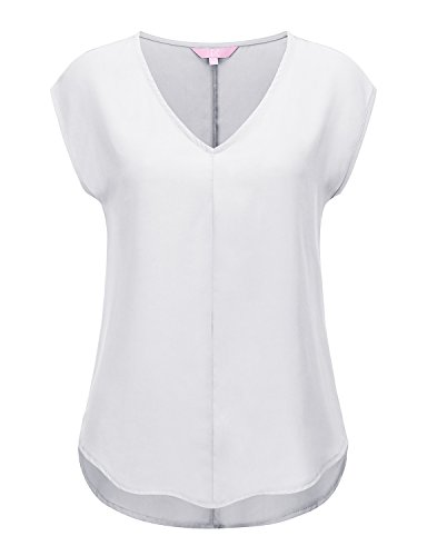 Color Chiffon Blouse - Regna X Women's Cap Sleeve V Neck Loose fit Solid 2X Blouse Tunic White 2XL