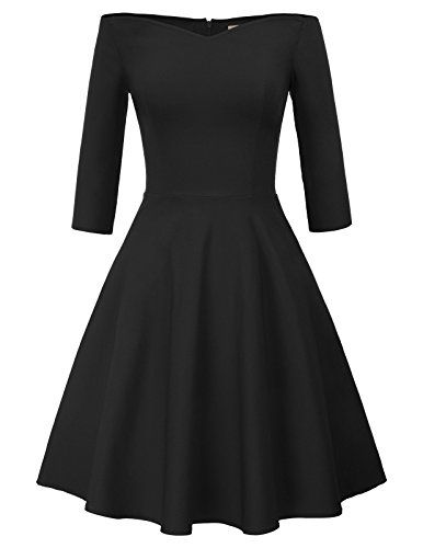 GRACE KARIN 3/4 Sleeve Formal Wedding Swing Dress A-line Size L Black CL823-1