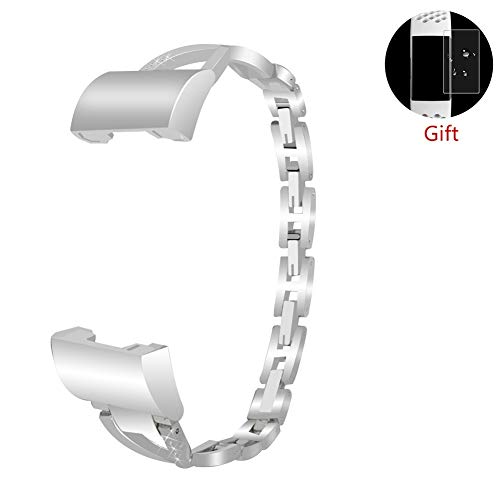 LLGLTEC Smart Watch Band Compatible with Fitbit Charge 3 Metal Alloy X-Shape Watch Strap with Crystal Rhinestone Women Bracelet Accessories Straps Wristband for Fitbit Charge 3 (Silver) ()