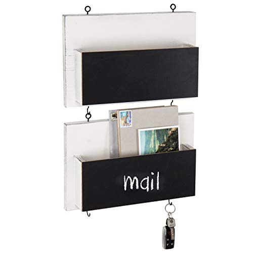MyGift Vintage White Wooden Wall-Mounted Chalkboard Mail Sorters with Key Hooks, Set of ()