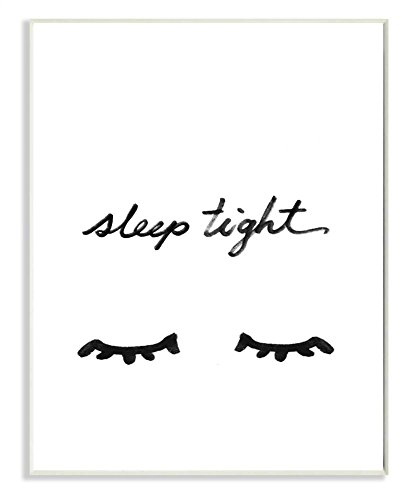 Stupell Home Décor Sleep Tight Eyelash Minimalist Illustration Wall Plaque Art, 10 x 0.5 x 15, Proudly Made in USA by The Kids Room by Stupell