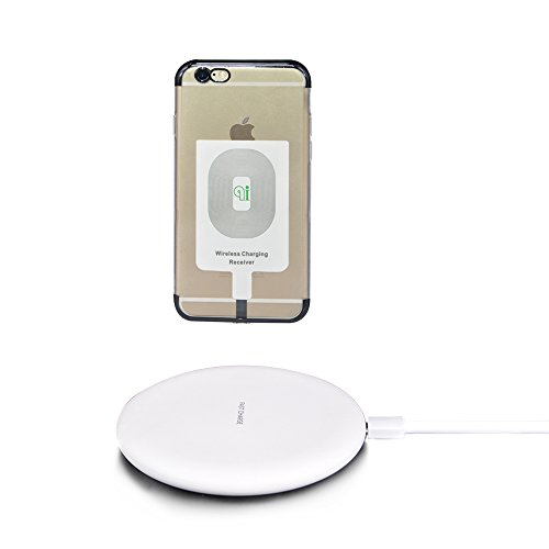 Crawood Wireless Charger Pad and Wireless Charger Receiver for iPhone 5/5S/5C, iPhone 6/6Plus, iPhone 6S/6S Plus, iPhone 7/7Plus, iPhone 7S/7S Plus, Safety protection. (Black) by Crawood