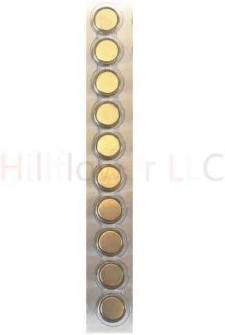 Hillflower 10 Piece AG8 LR55 LR1120 G8 391A L1121 Card 0/% Hg 1.5V Alkaline Light Prime Battery