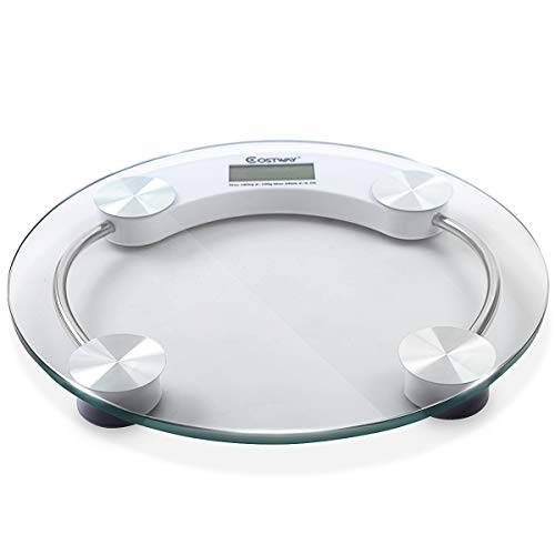 Costway Digital Body Weight Bathroom Scale with Step-On Technology, 400 Pounds, Glass Top, Large LED Display, Precision Measurements (Round)