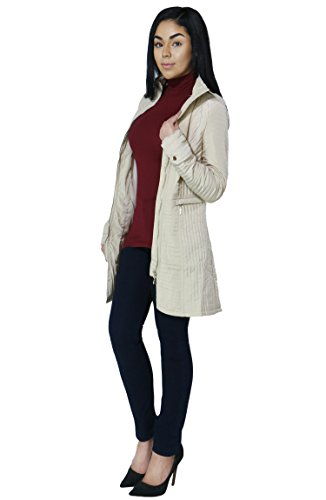 Womens Comfortable Long Quilted Coat with Zipper Detailing and Pockets (Small, Beige-MA13061)
