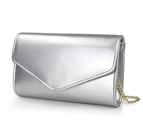 Glossy Envelope Evening Clutch Faux Patent Leather Women Chain Shoulder Bag Solid Color Purse (Silver)