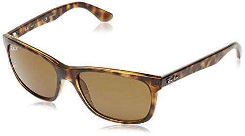 Ray-Ban RB4181 Square Sunglasses, Shiny Dark Tortoise/Polarized Brown, 57 ()