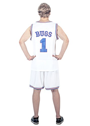 Space Jam Tune Squad Logo Bugs Bunny #1 White Basketball Jersey (Adult Bugs Bunny Costume)