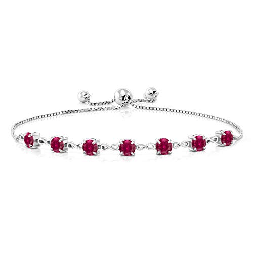 Gem Stone King 925 Sterling Silver 2.80 Ct Round Red Created Ruby 7 Stone Adjustable Tennis Bracelet Fits Up To 9 inches Wrist