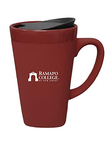 The Fanatic Group Ramapo College of New Jersey Ceramic Mug with Swivel Lid, Design-1 - Burgundy