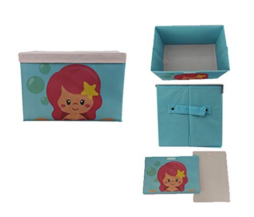 AVMART Foldable & Portable Blue Little Mermaid 2 in One Storage Box, Laundry Organiser Cum Sitting Stool with Lid Cover Easy to Carry Anywhere (32x21Cm)